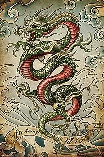 Alchemy Crouching Dragon Tattoo Art Print Poster 22x34