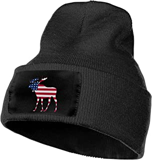 Unisex American Flag Moose Outdoor Warm Knit Beanies Hat Soft Winter Knit Caps