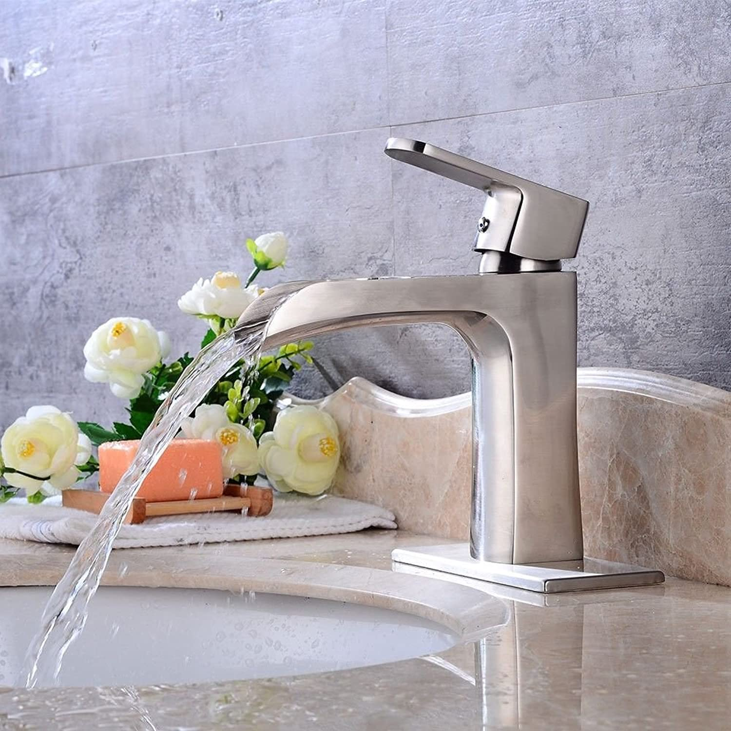Lpophy Bathroom Sink Mixer Taps Faucet Bath Waterfall Cold and Hot Water Tap for Washroom Bathroom and Kitchen Vintage Brass Brushed Single Handle Single Hole Ceramic Valve Hot and Cold