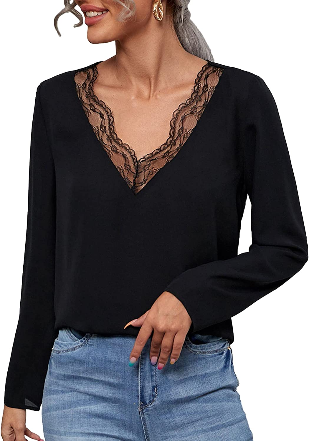 Milumia Women's Sexy Lace Trim Long Sleeves Camisole Dressy Tank Tops