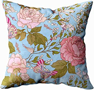 KIOAO Black Floral Pillow,20x20 Pillow Case, Standard 20X20Inch Soft Square Throw Pillowcase Covers Roses Butterflies Pattern Background Purple Printed with Both Sides,Blue Pink 3