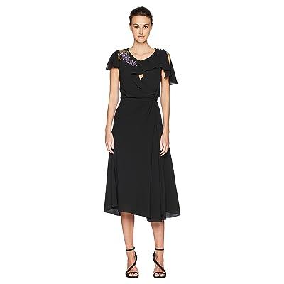 Zac Posen Solid Crepe Short Sleeve Dress w/ Embroidery (Deep Green Wisteria) Women