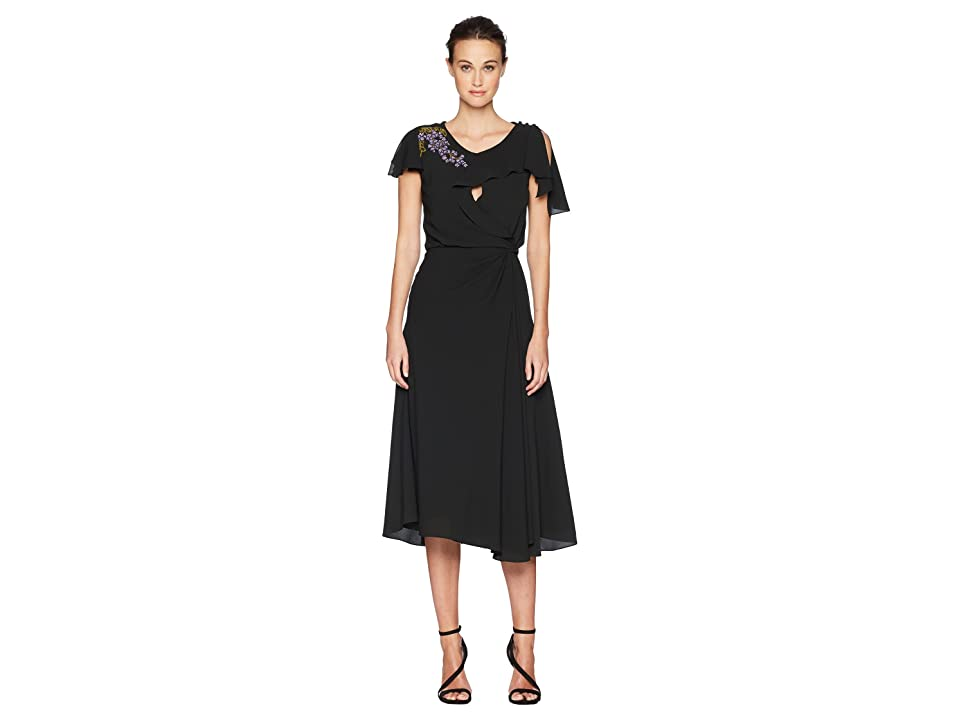 Zac Posen Solid Crepe Short Sleeve Dress w/ Embroidery (Deep Green Wisteria) Women