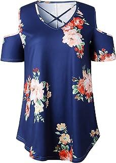 7TECH Strapless Flower Print T-Shirt, Blue
