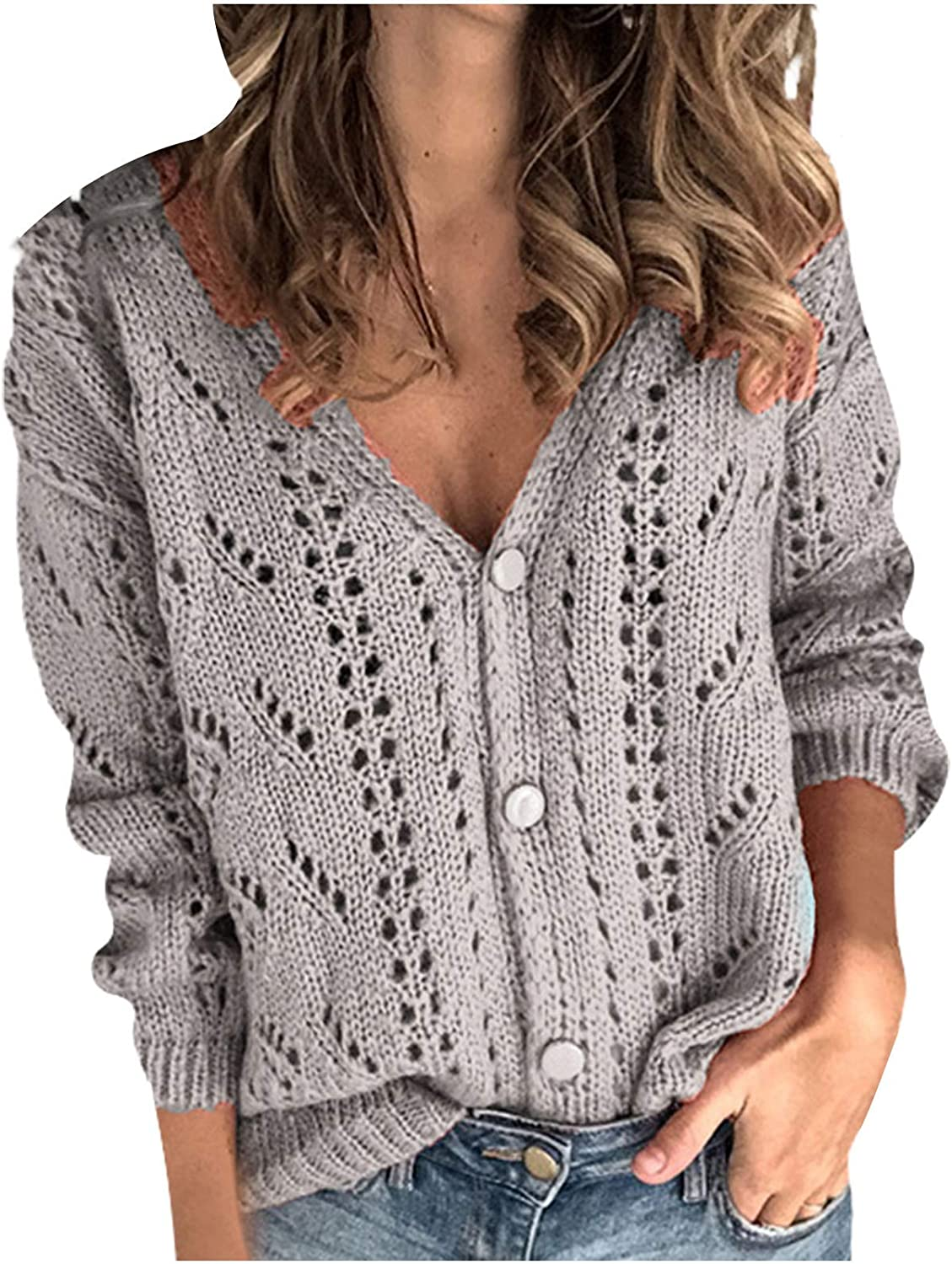 Women Sweater Vintage,Women Solid V-Neck Single-Breasted Buttons Hollow Out Cashmere Cardigan Sweater Sweater