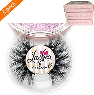 Mikiwi D390-3, 3 Pairs Lashes, Mink Eyelashes, 3D Mink Lashes, Thick HandMade Full Strip Lashes, Cruelty Free, Luxury Makeup, Dramatic Lashes (D390-3)