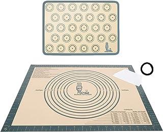 Grand tapis de cuisson en silicone antidérapant avec grattoir à pâte, tapis antidérapant pour macaron, fondant, pizza, pai...