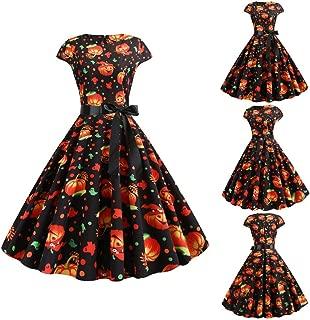 Womens Halloween Dresses, Simplenes Polka Dot Pumpkin Print Women's Short Sleeve A Line Vintage Dresses Audrey Hepburn Style Party Dress Swing Retro Rockabilly Cocktail Stretchy One-Piece