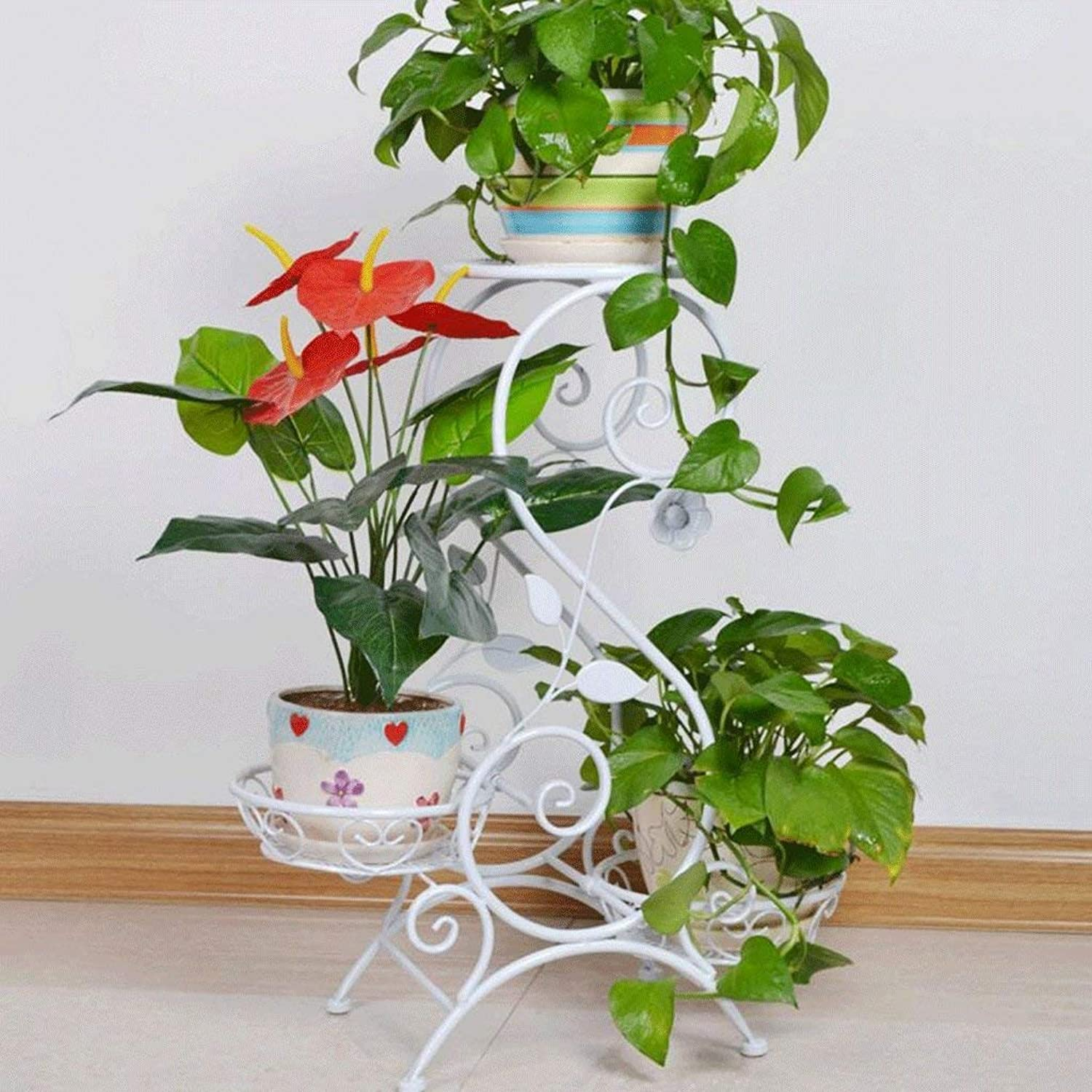 Gifts & Decor Plant Stand Shelf Flower Racks Iron Multilayer Indoor Living Room Balcony Three Flower Pot Rack (color   A)