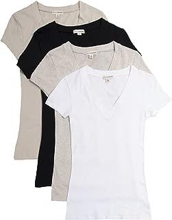 4 Pack Zenana Women's Basic V-Neck T-Shirts