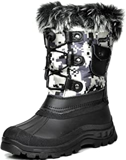 DREAM PAIRS Little Kid Ksnow Black Camo Isulated Waterproof Snow Boots - 11 M US Little Kid