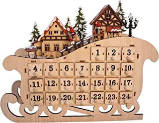 One Holiday Way LED Lighted Wooden Bavarian Sleigh Advent Calendar - Christmas Decoration with 24 Storage Drawers