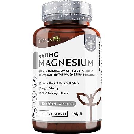 Magnesio Citrato 1480 mg - 440 mg di Magnesio Elementare per Dose - 180 Capsule Vegane per 90 Giorni - Suprema Biodisponibilità - Supporta Muscoli, Ossa, Metabolismo Energetico - Prodotto da Nutravita