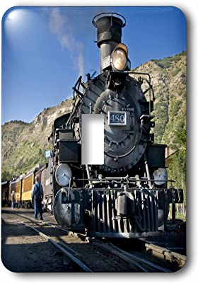 LSP/_240526/_1 Single Toggle Switch Magic Lantern Vintage Steam Engine Locomotive Train Carriages 3dRose