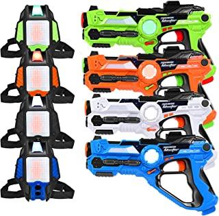 Costzon Infrared Laser Tag Blasters & Vests, Pack of 4 Laser Tag Reality Gaming Kit, 130ft Shooting Range w/ LED Target Armor, Heads-up Grid Display, Lights, Sound, Vibration, Buckle for Kids