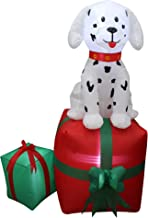 5 Foot Tall Christmas Inflatable Dalmatian Puppy Dog on Gift Box Outdoor Indoor Holiday Decorations, Blow Up LED Lights Lighted Christmas Yard Decor, Giant Lawn Inflatable for Home Family Outside