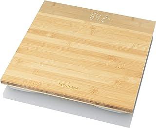 Medisana PS 440 báscula personal digital de bambú de hasta 180 kg, báscula de baño con desconexión automática y pantalla LED invisible