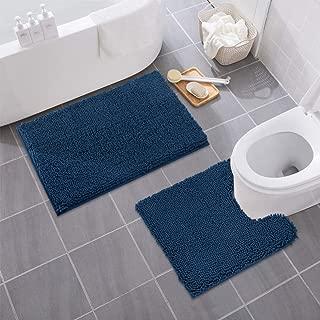 MAYSHINE Bathroom Rug Toilet Sets and Shaggy Non Slip Machine Washable Soft Microfiber Bath Contour Mat (Navy Blue, 32x20 / 20x20 Inches U-Shaped)