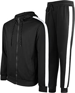 Mens Tracksuits Athletic Sports Hooded Jogger Pants Casual Full Zip Jogging Sweatsuit Running