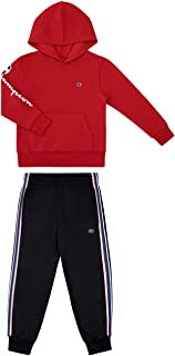 Champion Boys Two Piece Athletic Fleece Top Tricot Bottom Set Kids Clothes (Scarlet-Black Tricot Pant, 4_years)
