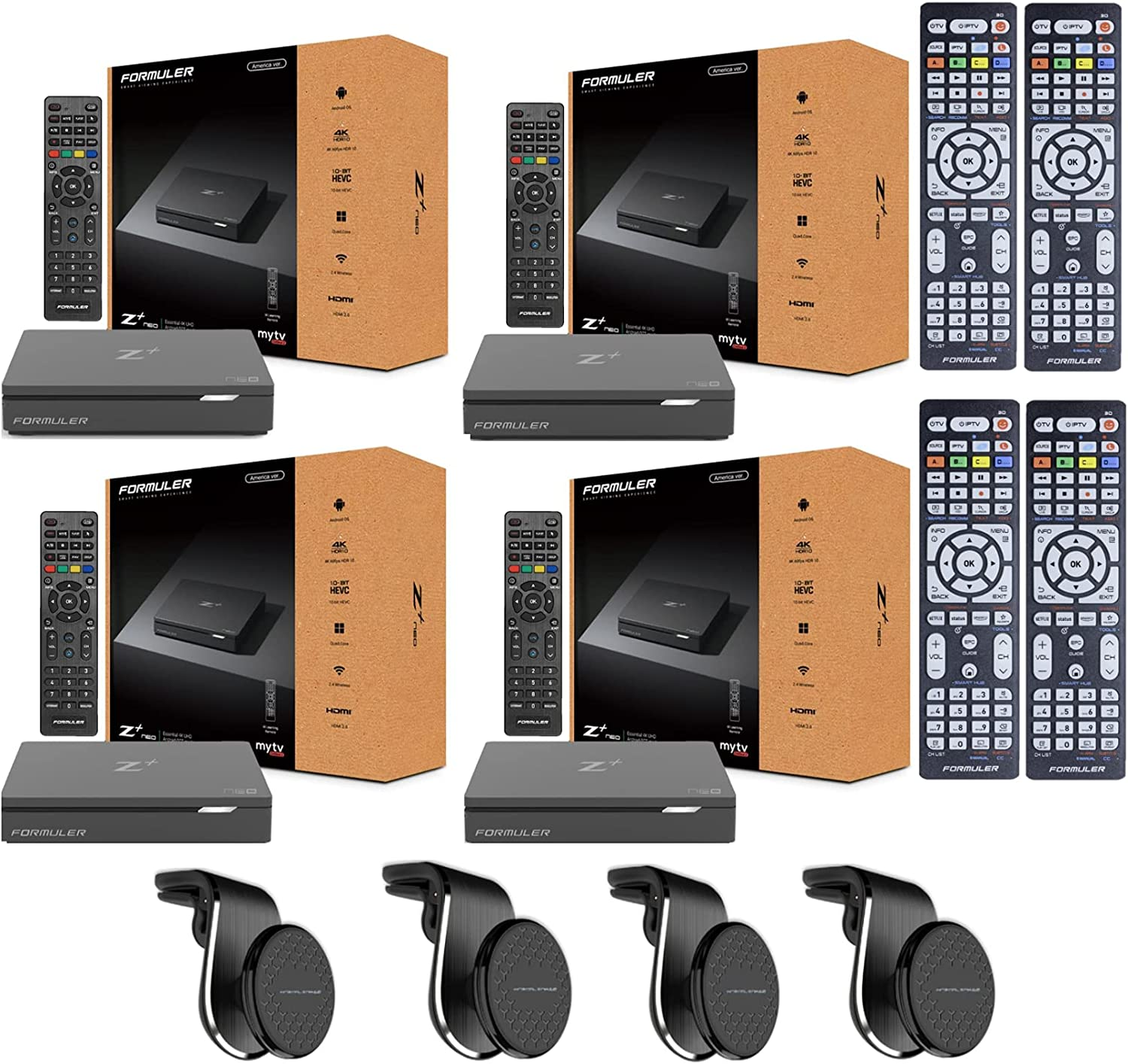 Pack of 4 - Formuler Z+ Plus Neo with Bonus Remote Control for All Samsung and LG TV's and Bonus Car Mount for All Smartphone