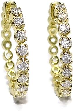 Boucles d'oreilles créoles en or jaune 18 carats avec 0,54 ct de diamants de 2 cm de diamètre et fermoir clip intérieur d