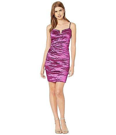 Nicole Miller Techno Metal V-Bar Mini Dress (Magenta) Women