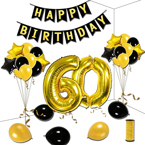 60th Birthday Theme Party Decorations Kit Happy Gold Star Black Balloons Banner Number