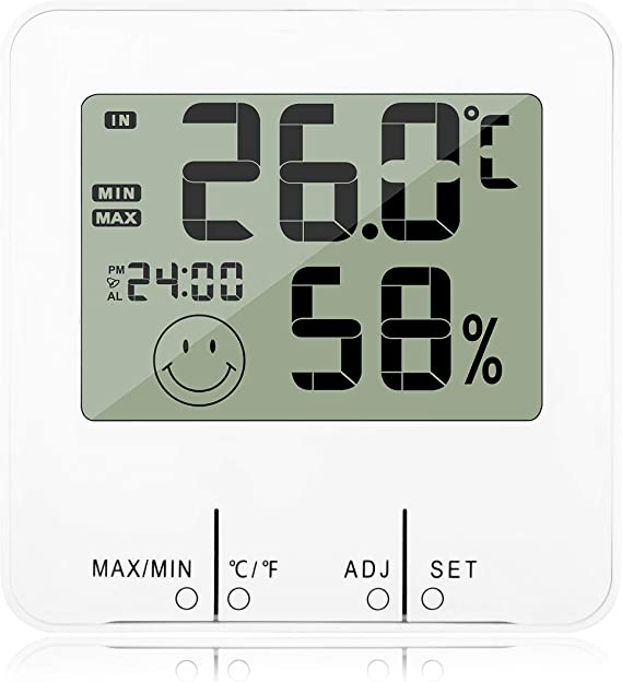 Hygrometer Time Temperature Humidity Measuring Meter Battery Operated for Indoor Outdoor Desktop Placing//Wall Hanging Black DAVEVY Digital Temperature Clock