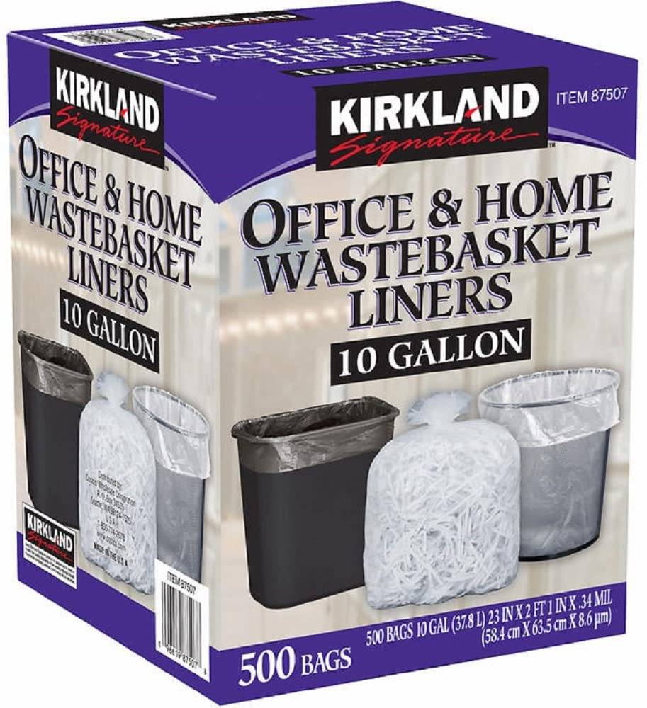 Kirkland Signature Clear Long Beach Mall Wastebasket Max 57% OFF Liner Thickness: 0.34 mil D