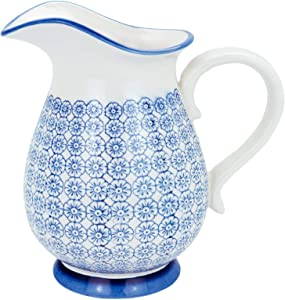 Nicola Spring Large Patterned Ceramic Vase/Water Jug, 2.2 Litres - Blue Flower Print