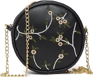 ADISA women girls round embroided sling bag (SL5080)