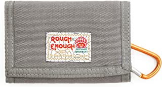 ROUGH ENOUGH Outdoor Multi-functional Classic Leisure Cool Vintage Fancy Stylish Small Size Trifold Durable Canvas Cash Wallet Purse Organizer With YKK Zipper Coin Pocket