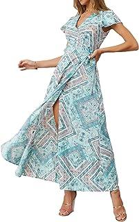 Ajpguot Vestido de Verano Mujer Impresión Maxi Vestidos de Playa Elegante Beachwear Largo Dress con Cinturón Sexy V-Cuello...