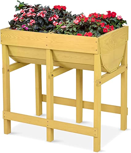 """wholesale Giantex Raised Garden Bed, Wood Planter for Vegetable Flower Herb, Elevated Planting Boxes, 2021 Plant Container with Black Liner, Free Standing Outdoor Garden Beds outlet online sale with Legs, 28""""X18""""X28.5"""" sale"""