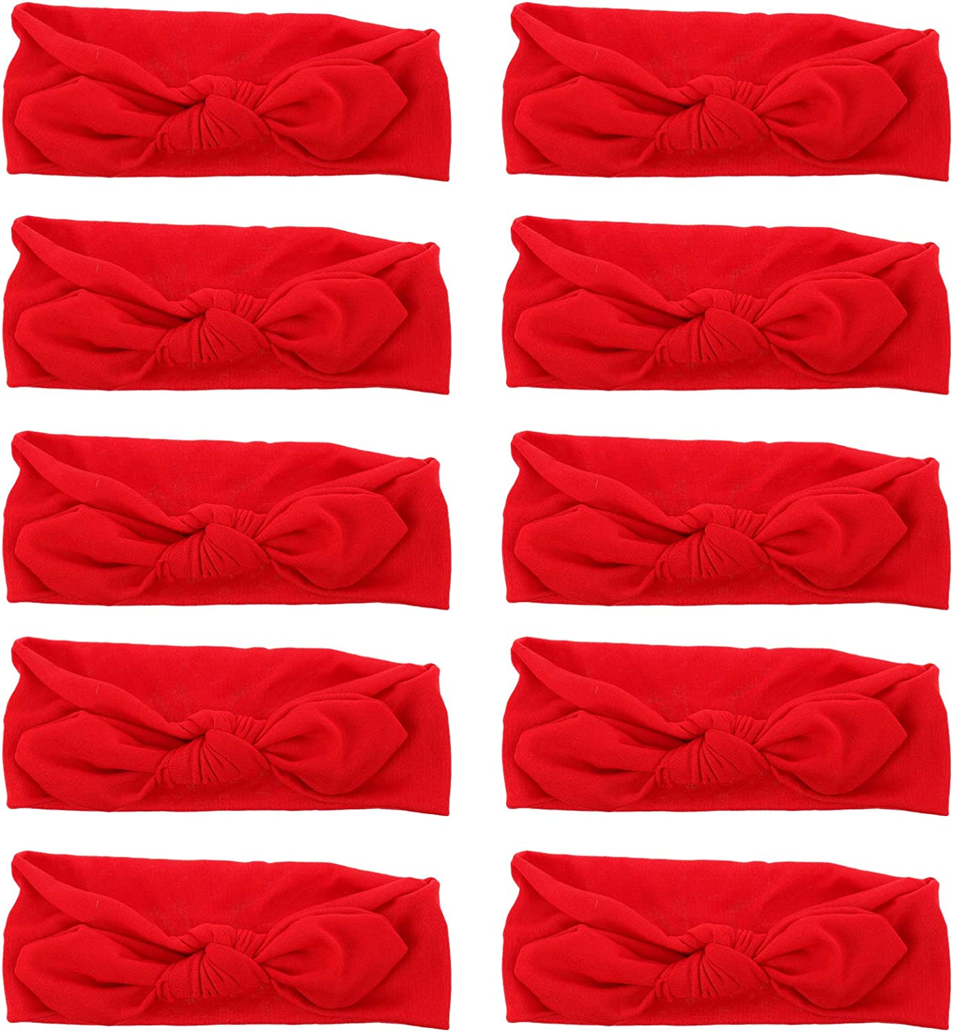 Beaupretty 10Pcs Christmas Bow Knotted Headbands Criss Cross Sport Turban Head Wrap Yoga Face Wash Hair Band Hair Accessories Gift for Women Teen Girls(Red)