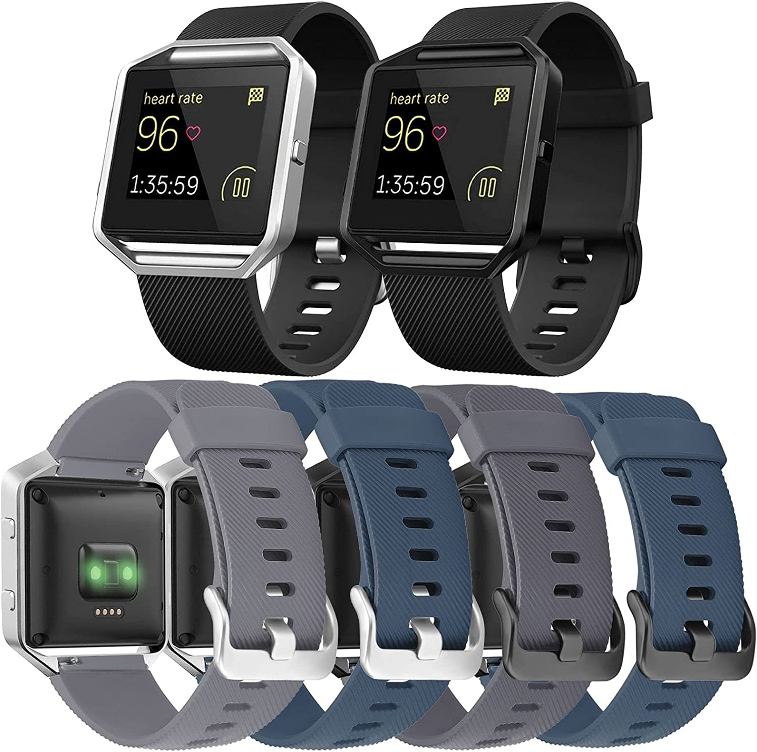 ESeekGo Compatible with Fitbit Blaze Bands, 6 Pack Silicone Band with 2 Pcs Metal Frame Compatible with Fitbit Blaze Sport Fitness Accessory Replacement Wristband for Men Women