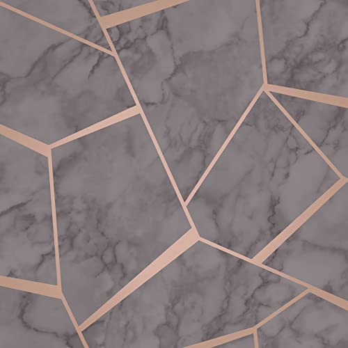 Fine Decor Fine Decor Heavyweight Wallpaper Fractal Marble Charcoal FD42266 Full Roll