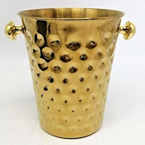 THIVPQ Champagne Bucket with Complementary Tong. Ice bucket. 5Liter. Wine, Beer, Drinks and Beverages Chiller. Stainless Steel.Gold Color