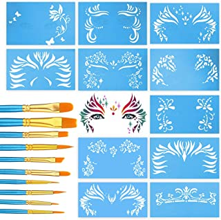 Pixiss Face Paint Stencils 13 Pack Kit Large Reusable Face Painting Stencils for Facepainting, Tattoo Templates, Halloween Makeup Stencil with 10 Painting Brushes Nylon Round and Pointed Brush Set