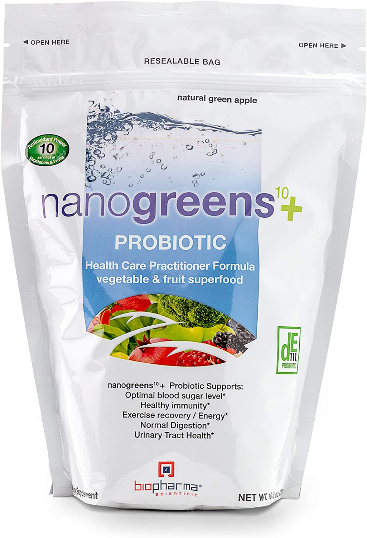 Biopharma Scientific NanoGreens + Probiotic Fruit and Vegetable Superfood Supplement Powder | Natural Green Apple Flavor | 30 Servings | Spirulina, Chlorella, Kale, Probiotic Bacillus subtilis