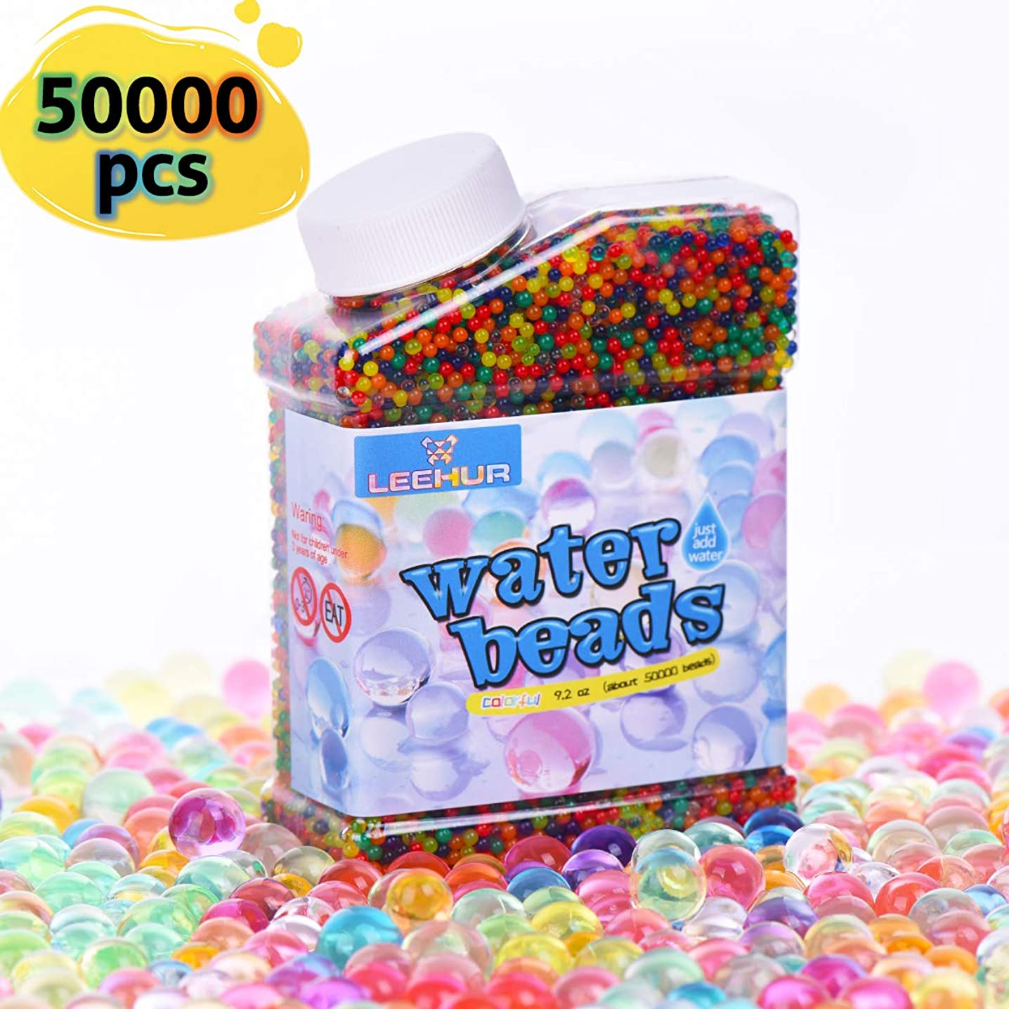 LEEHUR Soft Water Beads for Kids Non-Toxic Sensory Play Toys Rainbow Mix Gel Jelly Growing Balls Spa Refill Vases Home Outdoor Party Decoration 9 Ounces