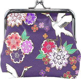 MASSIKOA Crane Floral Coin Purse Change Cash Bag Small Purse Wallets for Women Girl