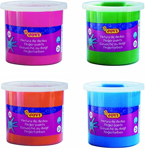 Jovi Finger Paint Nontoxic Child Safe Smooth Ready to Use Wash for Kids Toddlers Pack of 4 Colors Magenta Green Orange Blue 125 ml Each Birthday Gifts for 2 Art No FIPVP 4 07