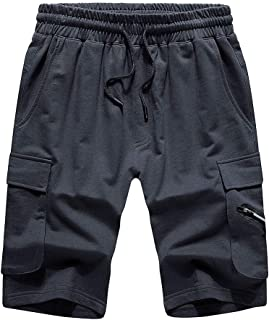 LBL Men's Elastic Waist Shorts Classic Casual Athletic Flat Front Sports Shorts with Pockets