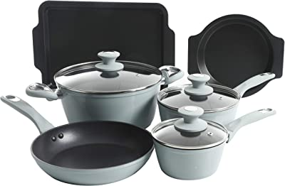Oster 124923.12 Forged Aluminum Non-stick Cookware with Induction Base and Soft Touch Bakelite Handle, 12-Piece, Dusty Blue