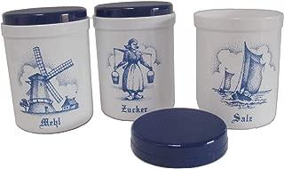 Dekordosen-Set 1,1 Liter Zwiebeldekor 3 Stück Küchendose Küchenaufbewahrung Mehl