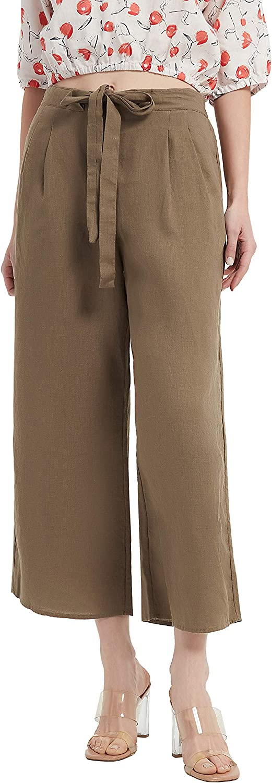PACIBE Women's Summer 100% Linen Casual Elastic Waist Wide Leg Crop Pants with Pockets Deep Khaki L