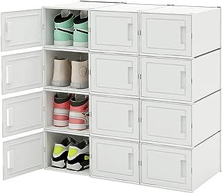 Meerveil Boite de Rangement, Lot de 12 DIY, Boîtes à Chaussures Empilable, Boite Rangement Chaussure Plastique avec Porte,...