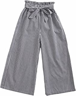 Sanlutoz Moda Raya Pantalones de niña Niños Algodón Pantalón Casual Ropa Suave